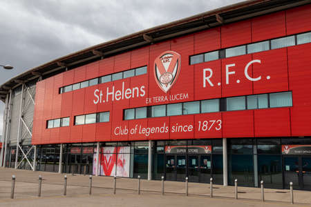 Exterior of main entrance for St Helens Rugby Football Club stadium St Helens Lancashire March 2019