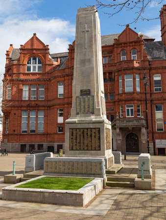 War memorial showing the names of those lost in the first world war Victoria Square St Helens Merseyside March 2019