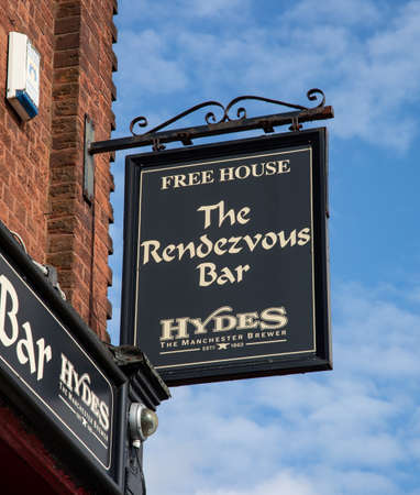 Sign for The Rendezvous Bar public house  St Helens Merseyside March 2019 Editorial