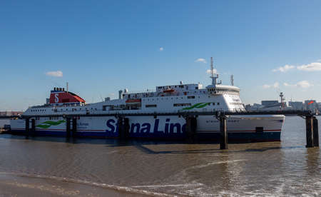 The Stena Line ferry Stena Mersey moored at Birkenhead Ferry Terminal Wirral April 2019