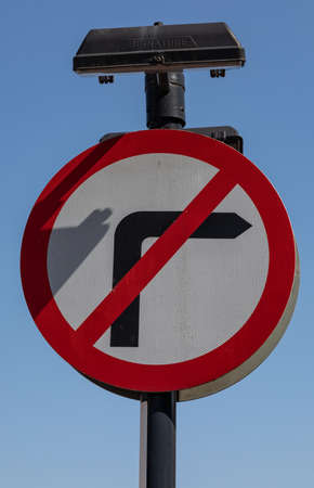 A no right turn sign in the town centre of Widnes England Stock Photo