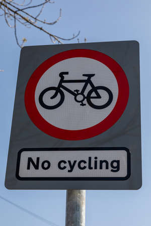 Rectangular sign banning cycling in Widnes town centre