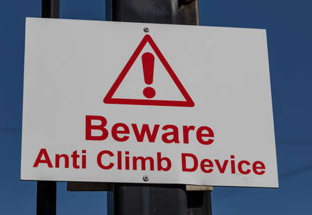 Rectangular  sign warning of anti climb device Widnes