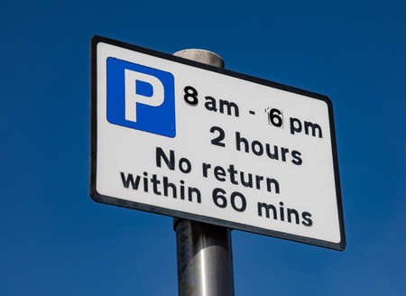 Sign indicating limited on-road parking Widnes Stock Photo