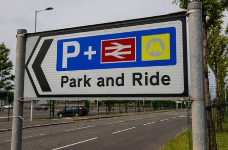 Park and ride sign at entrance to train station at Birkenhead North Wirral August 2019
