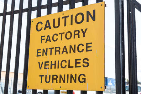 Sign warning of turning factory in vehicles Wallasey Wirral August 2019