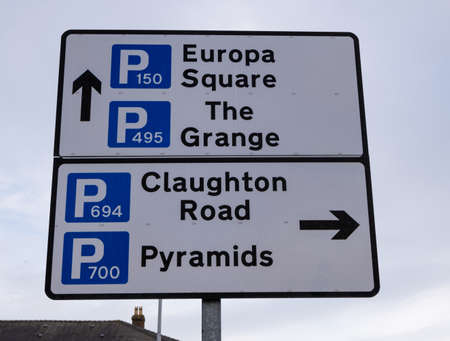 town centre sign indicating multiple car parks inBirkenhead Wirral January 2020