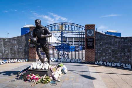 Statue of Dixie Dean outside Goodison Park in Liverpool May 2020