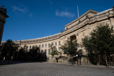 Civic centre and Le Mans Crescent in Bolton Lancashire July 2020