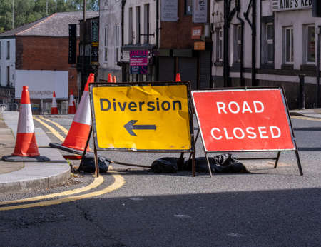 diversion and road closed sign in the town centre in Bolton Lancashire July 2020 Editoriali