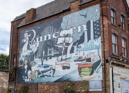 Mural of local history Runcorn in July 2020