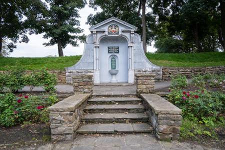 Fountain commemorating gift of Ashton Gardens in St Annes on Sea Fylde