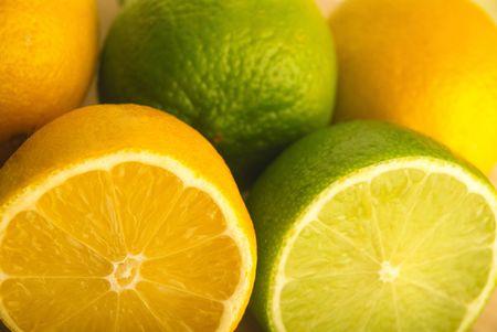 Yellow and green lemons Stock Photo