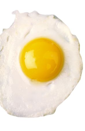 Fried eggs with brightly yellow yolk on  white background Stock Photo - 824193