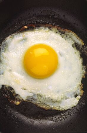 Fried eggs with brightly yellow yolk on  white background photo