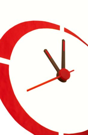 Hand-worked hours, black arrows, second red arrow,  red dial on  white background