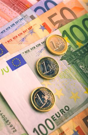 Monetary denominations and coins of euro - advantage one hundred and fifty euro lay on  table