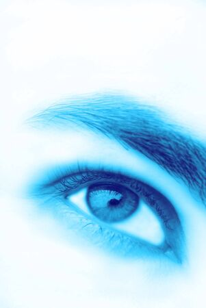 Mans eye of blue color, white background, close up