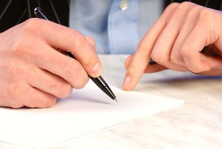 businessman is going to sign  commercial agreement  pen, horizonal Stock Photo - 910366