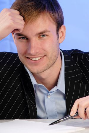 businessman is going to sign  commercial agreement  pen, portrait Stock Photo