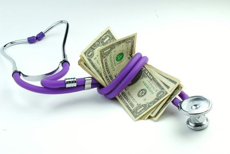 Medical stethoscope and pack of one-dollar banknotes on  white background Stock Photo - 910413