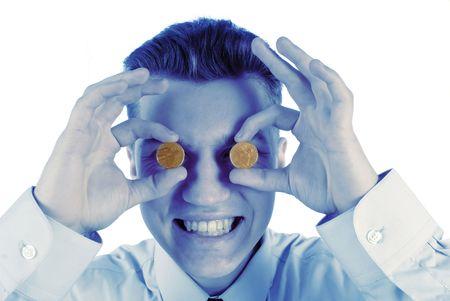 estimates: portrait of  businessman which estimates all coins on  white background Stock Photo