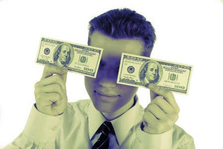 closes eyes: businessman closes eyes hundred dollar banknotes on  white background