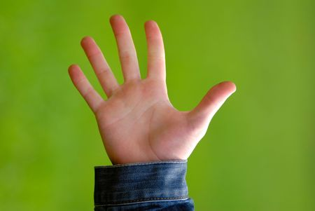 gesture greetings - on  green background, close-up