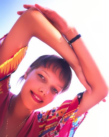 portrait of  girl with  lifted hands above  head Stock Photo - 948250
