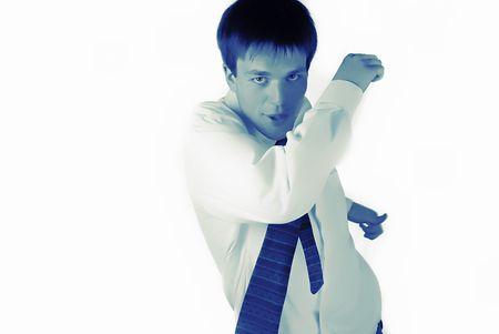 masculin: young, vigorous businessman runs on  white background