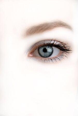sight, female eye on white background Stock Photo