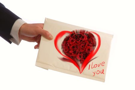 hand of  businessman holds an envelope with  love message, clode up Stock Photo - 1007073