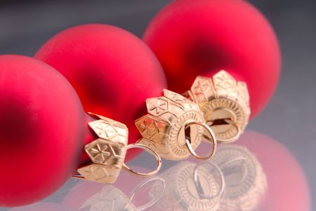 three ball of red color, New Year's toy, dark background Stock Photo - 1104756