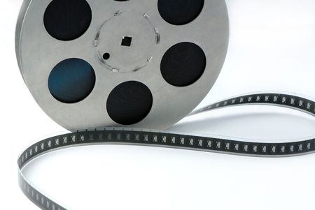 reel of  film of 16 mm on  white background Stock Photo