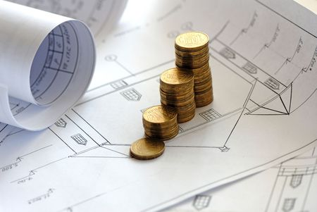 monetary accumulation for construction of  house and drawings  photo