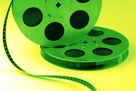 chronicle: two reels old 16 mm on  green background