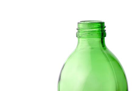 wine register: empty bottle  green color isolated on  white background