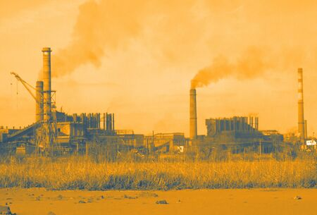 industry moody: air pollution by  industrial enterprises Stock Photo
