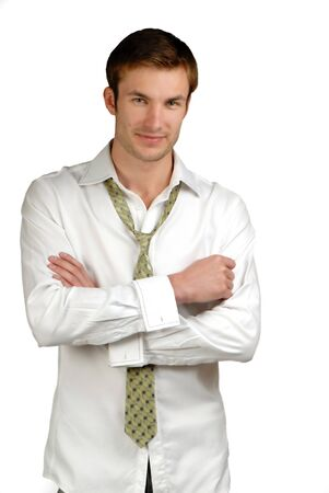 young businessman dressed in  shirt and  tie on  white background Stock Photo - 2025511