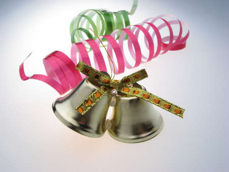 bedeck: fur-tree toy, ornament, New Years  handbell on  white background Stock Photo