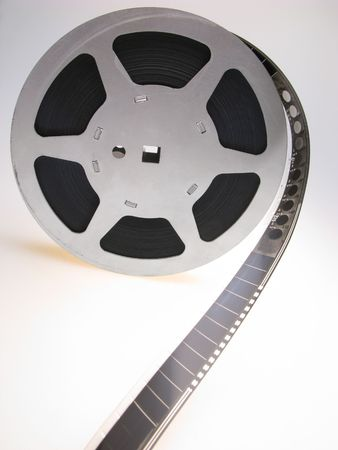 reel of  film of 16 mm on  white background, close up