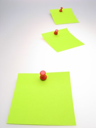 todo: three sheet of  green paper and  red writing button on  light background Stock Photo