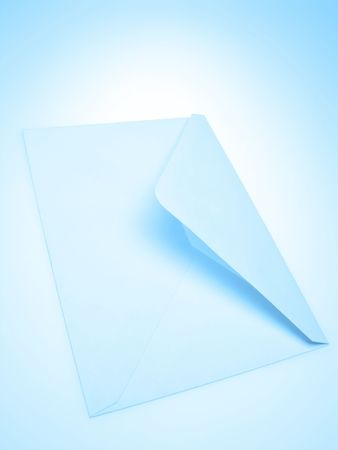 one post envelope on blue background,  close up photo