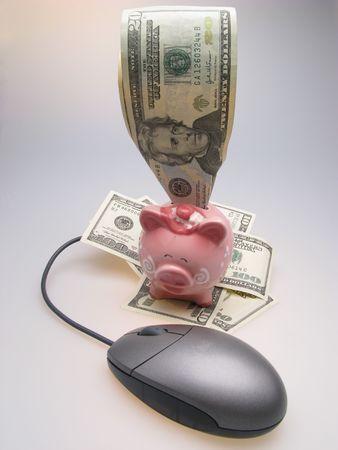 Dollars, piggy bank and mouse, closeup photo