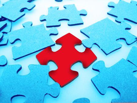 Jigsaw puzzle pieces, closeup