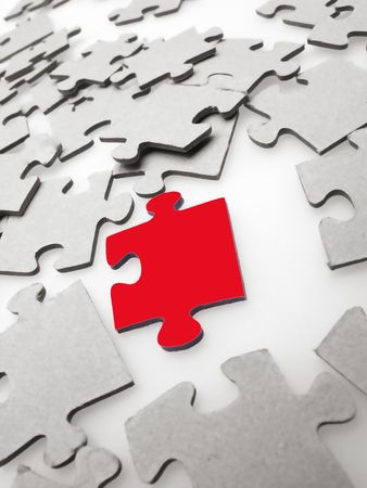 Jigsaw puzzle pieces on light background photo