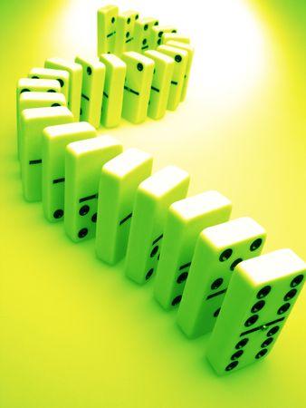 Dominoes in green, concept