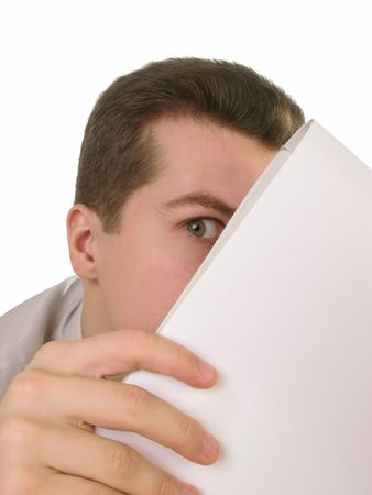 masculin: Young businessman looking out of the notepad, close up
