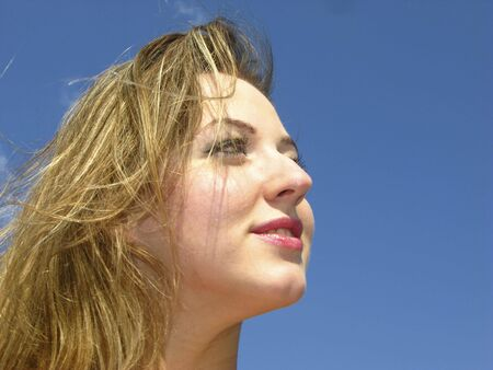 Female portrait on  background of  blue sky Stock Photo - 3020842