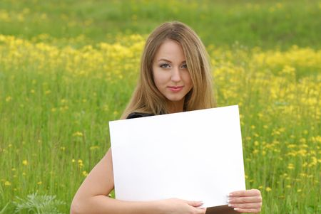 young business woman holding an empty white card Stock Photo - 3104642